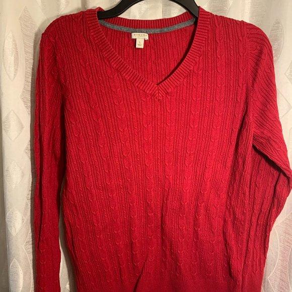 Sonoma Red knit sweater sz L